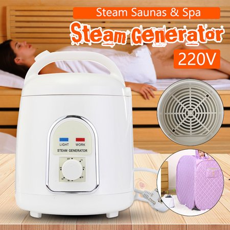 Commercial Steam Generator System - 110V 1.8L White ABS Plastic Portable Home Steam Pot Steamer Sauna Generator US Plug