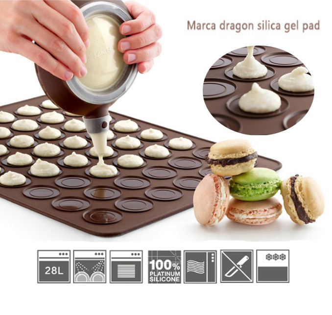 Silicone Macaron macaroon Baking Sheet Mat Muffin DIY Chocolate Cookie Mould Mode - 30 Capacity