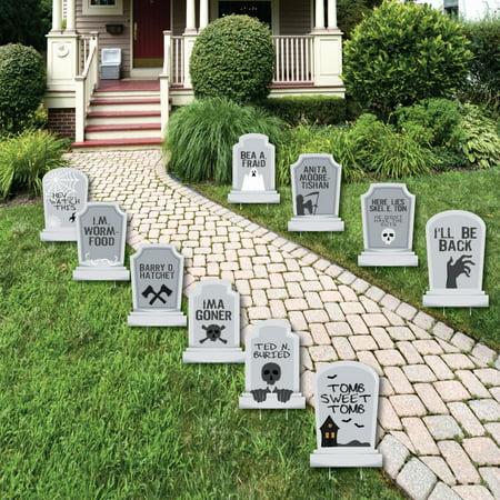 Funny Tombstones - Graveyard Lawn Decorations - Halloween Yard Decorations - 10 Piece