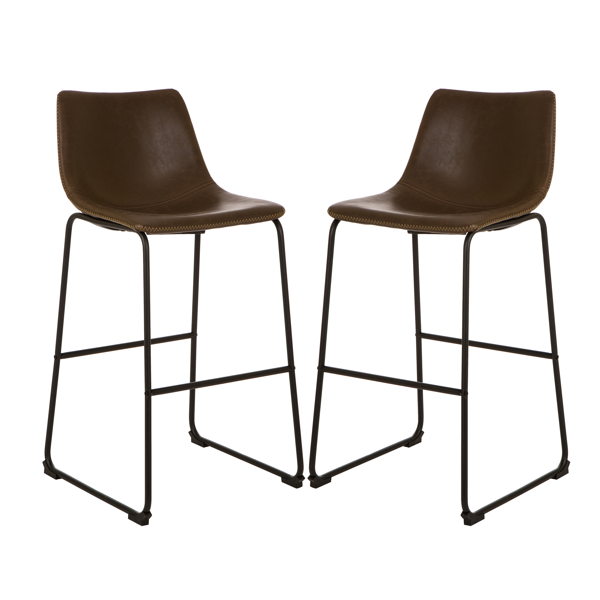 Glitzhome Retro Chrome Dining Kitchen Chairs Leatherette Bar Stool Leather  Seat Set of 2