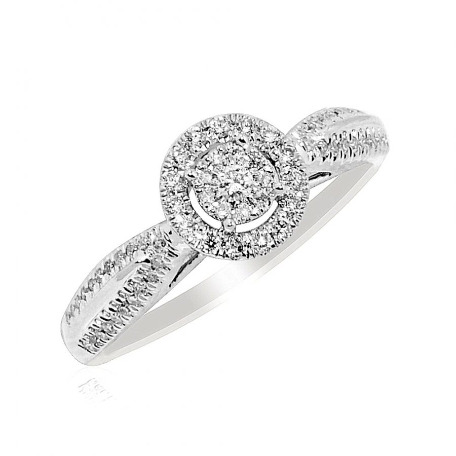 10K White Gold 1/4cttw Diamond Engagement Ring 7.5mm Wide Promise Ring(I/J Color 0.25cttw) 8.5