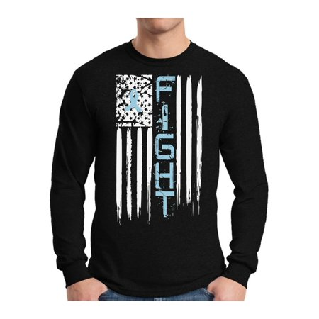 Awkward Styles Men's Prostate Cancer Distressed American Flag Graphic Long Sleeve T-shirt Tops Fight Blue