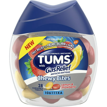 (2 Pack) Tums chewy bites antacid with gas relief, melon-berry hard shell chews for heartburn + gas relief,