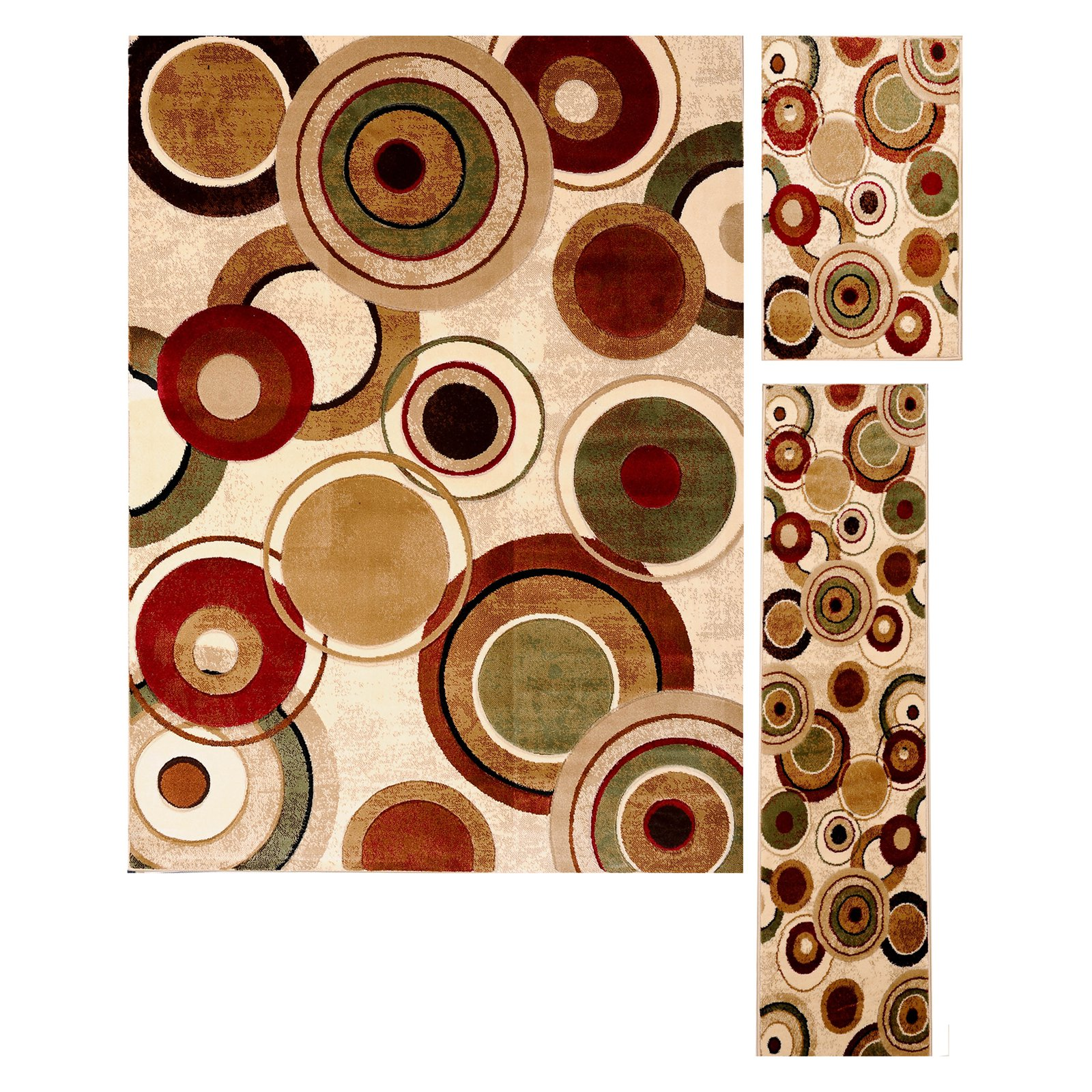Home Dynamix Tribeca Collection Contemporary Ivory/Multi 3-Piece Area Rug Set