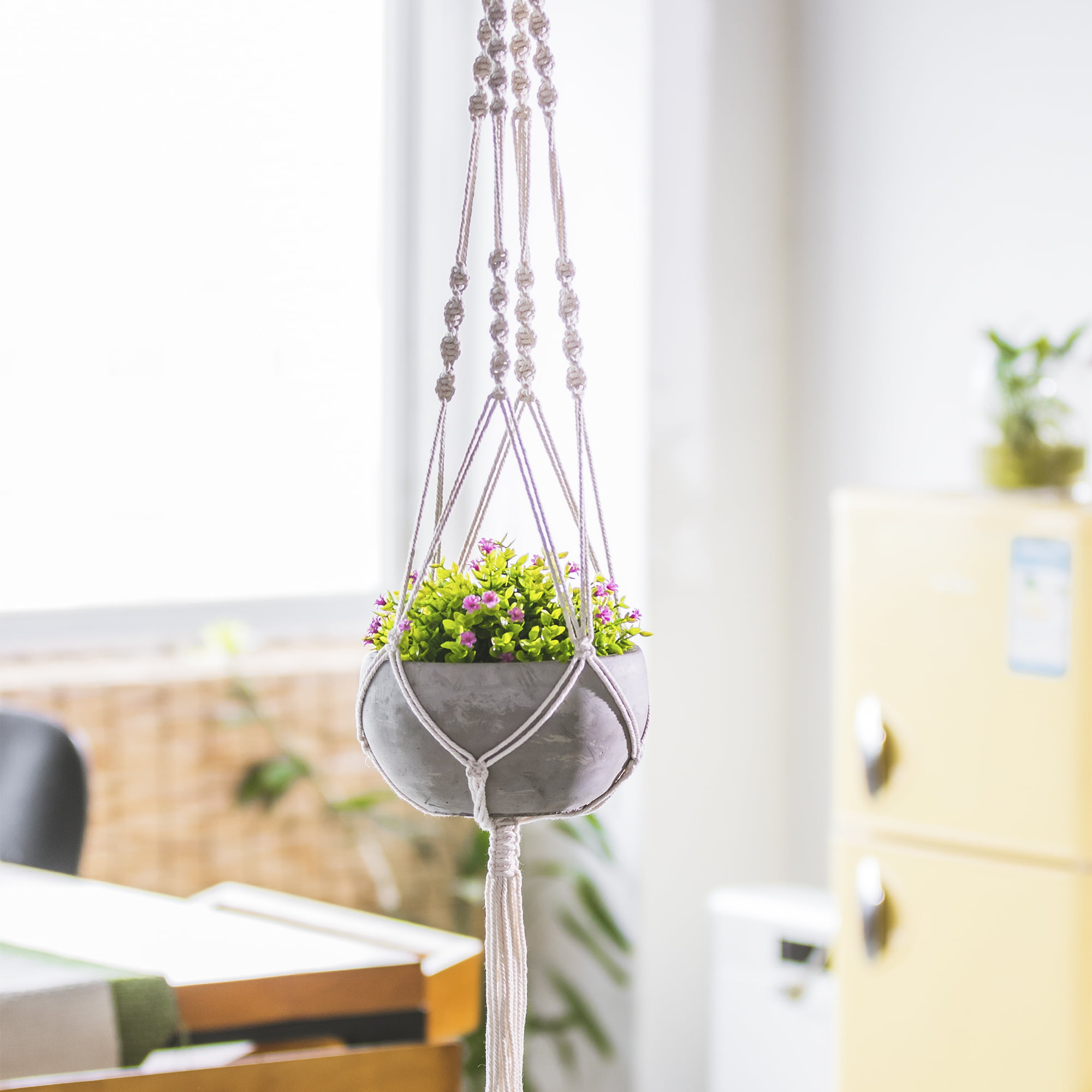 Hanging Succulent Planter Cement Planter Includes Handmade Weave Macrame For Easy Design And Beautiful Accents Walmart Com Walmart Com