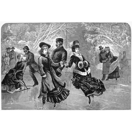 Stretched Canvas Art - Ice Skating, 1877. /Nan Elegant Skating Party In Central Park, New York City. Wood Engraving From An American Newspaper Of 1877. - Large 24 x 36 inch Wall Art Decor Size.