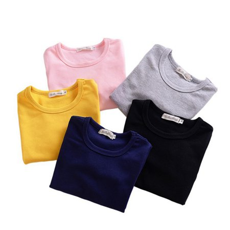 Kacakid Toddler Infant Baby Girls Cotton Long Sleeve Pullover Base T-shirts Tops Tee -