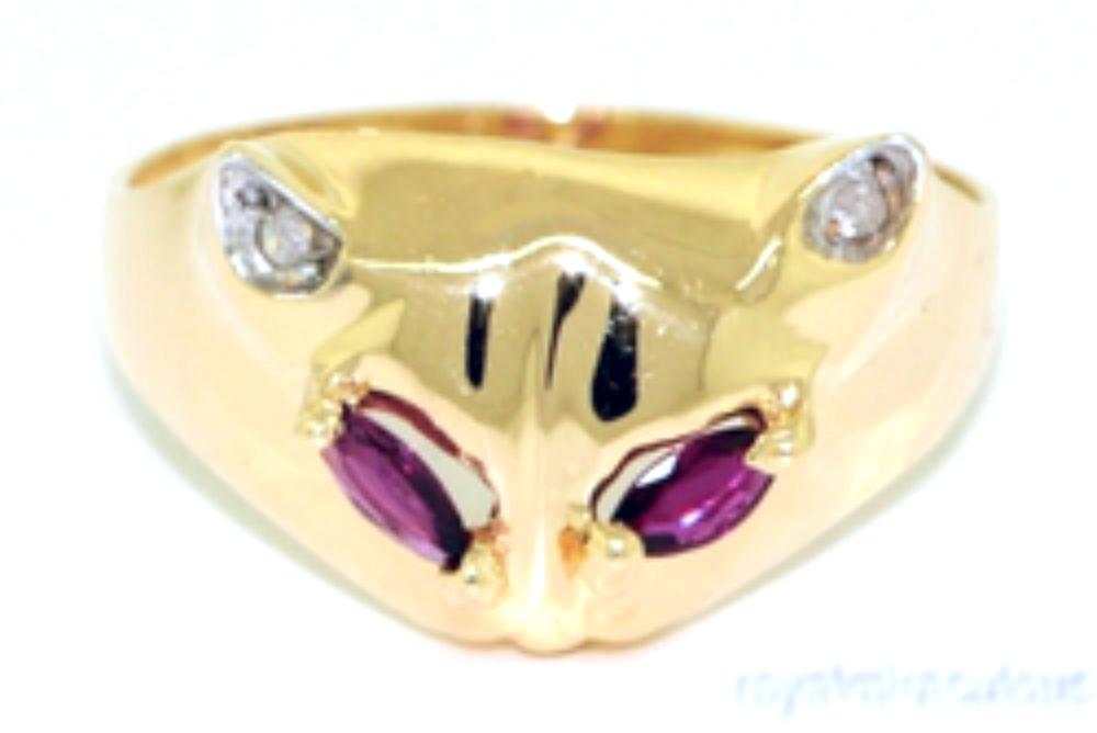 Diamond & Ruby Unique 14K Yellow Gold Cat Ring Unique by Elie Int.