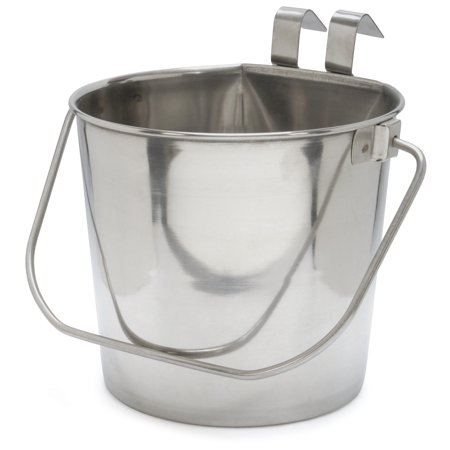 Jeffers Stainless Steel Flat-Sided Hanging Pail, 4 Quart 6 Quart Stainless Pail