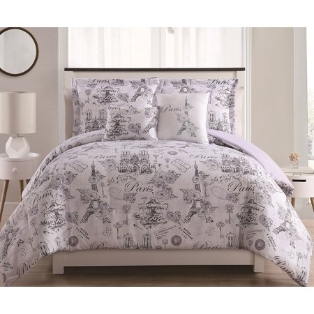 4/5pc Paris Comforter Sets  Lavander duvet cover, purple grey bedding, bedspread ()