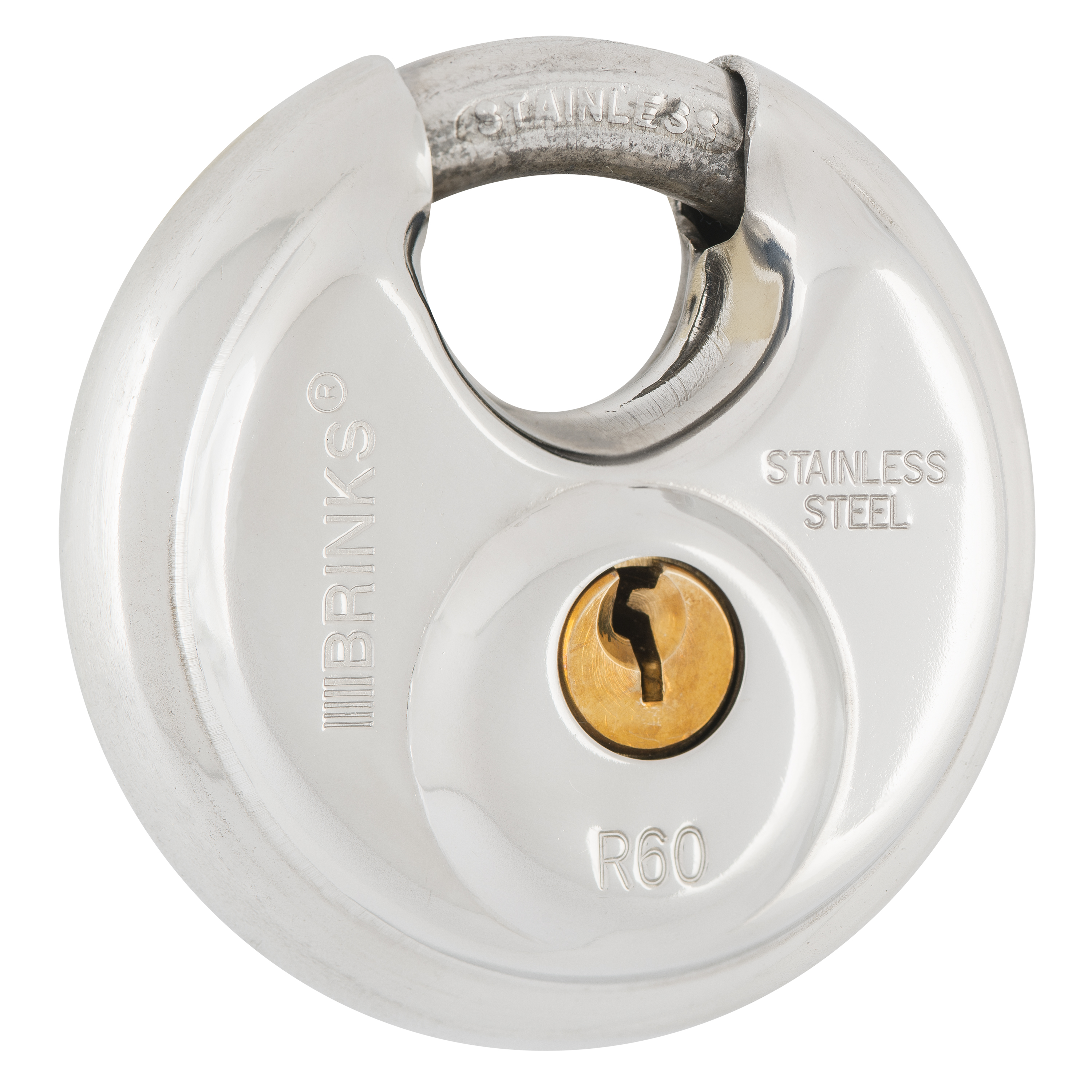 60mm Heavy Duty With 2 Keys Round Discus Shackle Padlock Stainless Steel