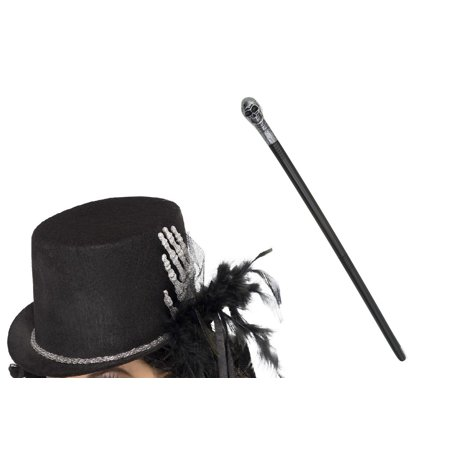 Skeleton Bone Hand Top Hat Warlock Staff Cane Scepter Wizard Costume Accessories](Wizard Hat)