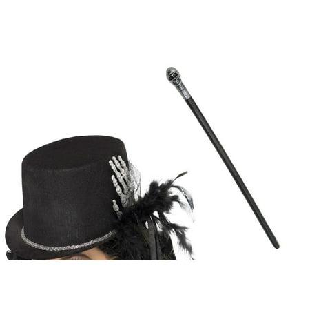 Skeleton Bone Hand Top Hat Warlock Staff Cane Scepter Wizard Costume Accessories