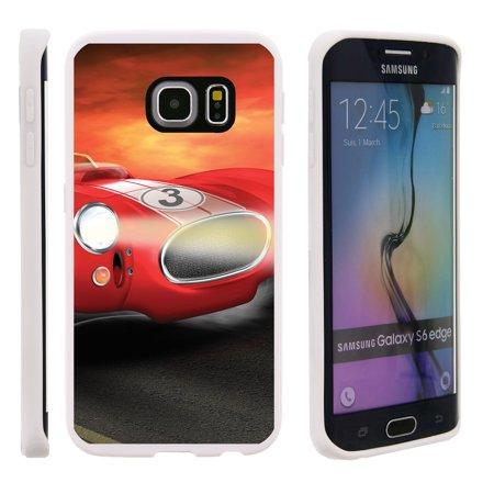 Samsung Galaxy S6 Edge G925, Flexible Case [FLEX FORCE] Slim Durable TPU Sleek Bumper with Unique Designs - Racecar Cartoon - Race Car Design