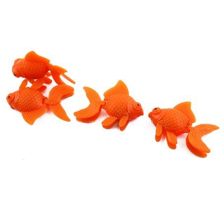 Aquarium Plastic Simulated Floating Tropical Fish Ornaments Orange 4pcs
