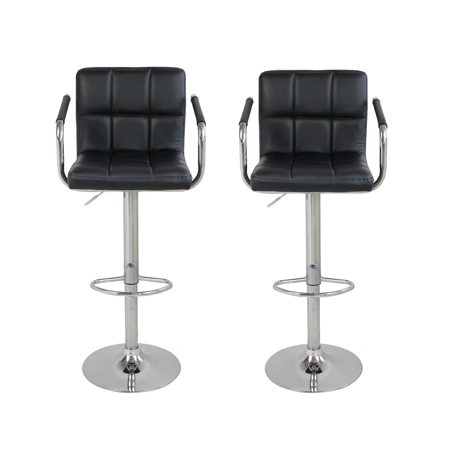 UBesGoo Furniture Direct Black Leather Adjustable Height Swivel Barstool Set with Armrest and Footrest (Set of 2)