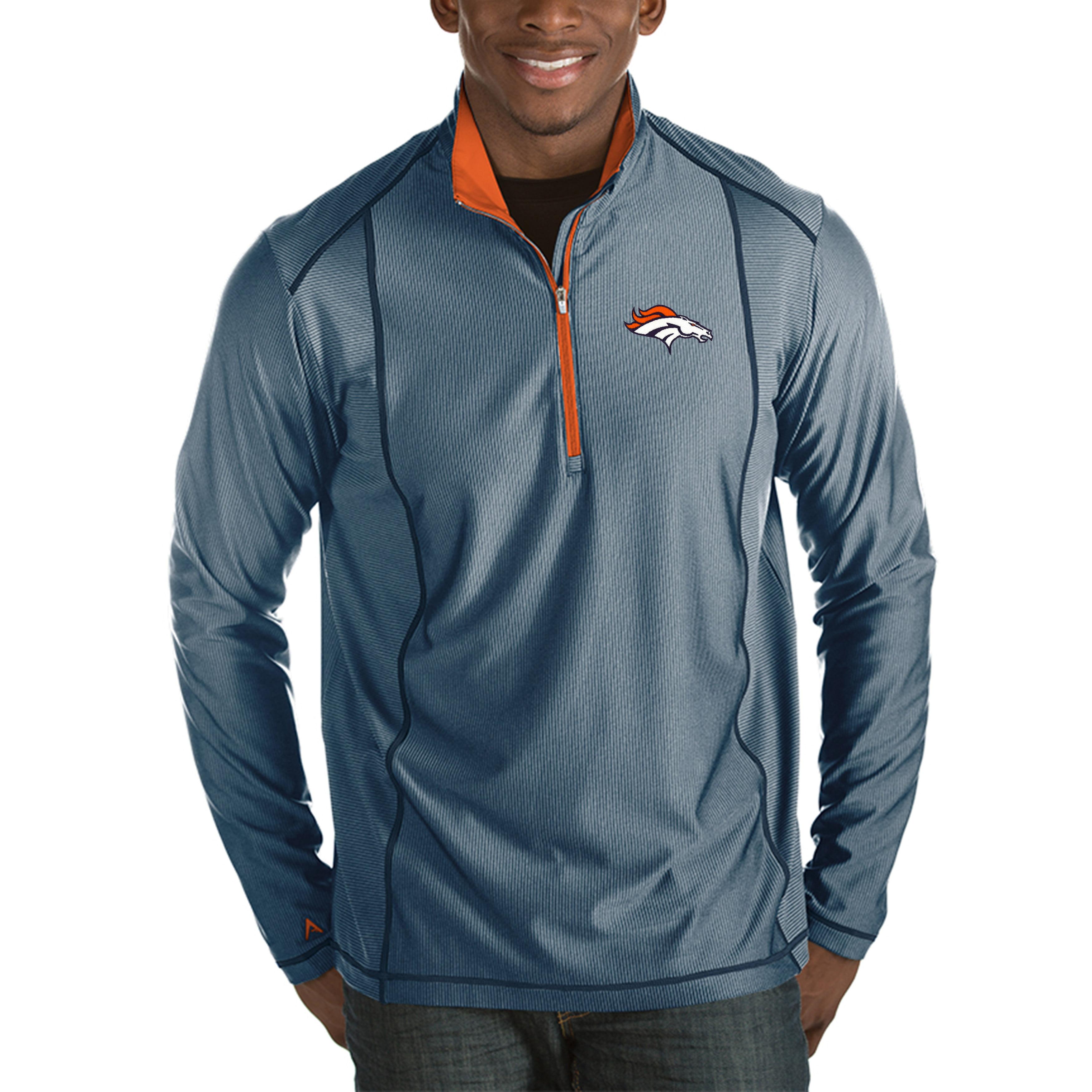 Denver Broncos Antigua Tempo Half-Zip Pullover Jacket - Heather Navy