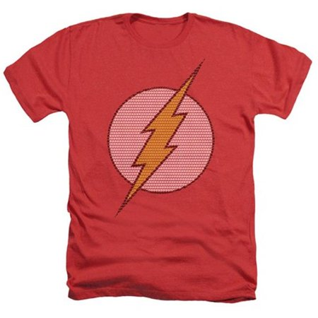 Trevco Dc-Flash Little Logos - Adult Heather Tee - Red, Small