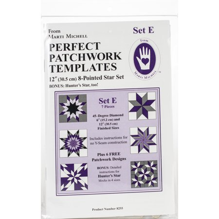 Perfect Patchwork Template Set E, Eight Pointed Star Set, Package of Seven Perfect Mount Template