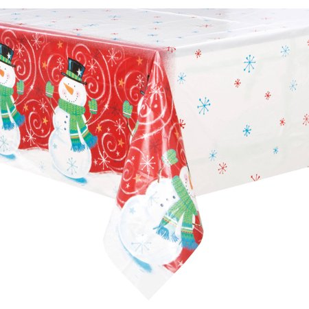 (4 pack) Plastic Snowman Swirl Holiday Table Cover, 84