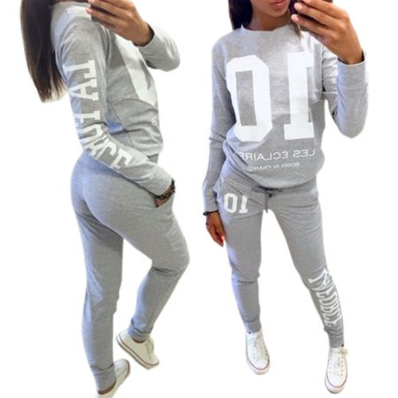 (Women 2Pcs Tracksuit Pullover Sweatshirt Pants Set Casual Sport Wear Sweat Suit)