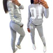 Women 2Pcs Tracksuit Pullover Sweatshirt Pants Set Casual Sport Wear Sweat Suit