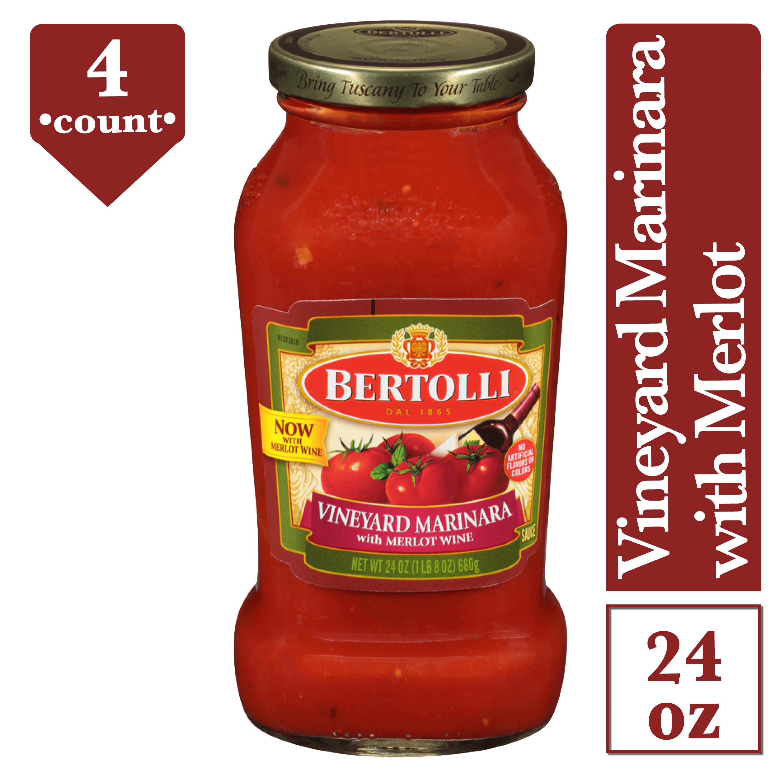 4 Pack Bertolli Marinara With Burgundy Wine Pasta Sauce 24 Oz Walmart Com Walmart Com