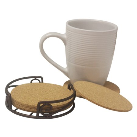 Natural Cork 6 Piece Coaster Set with Scroll Collection Steel Holder Scroll Coaster Holder