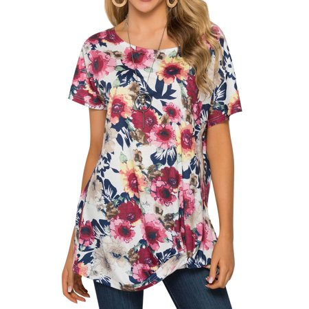 ZXZY Women Round Neck Short Sleeve Floral Print Twisted Hem Tunic Shirt