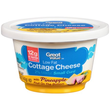 Great Value Low Fat Cottage Cheese With Pineapple Fruit On The Bottom 5 Oz