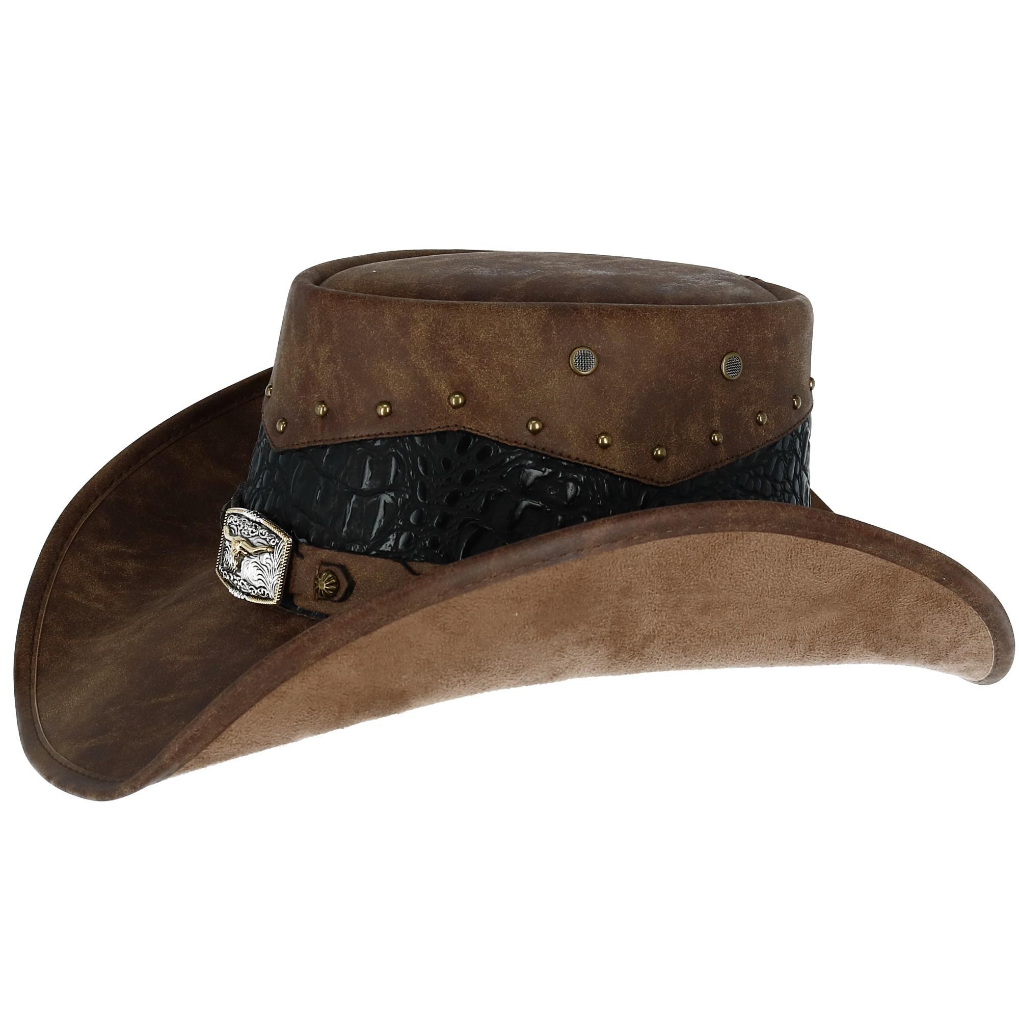 Kenny K Men's Faux Leather Western Hat with Medallion Detailed Crown - image 3 de 5
