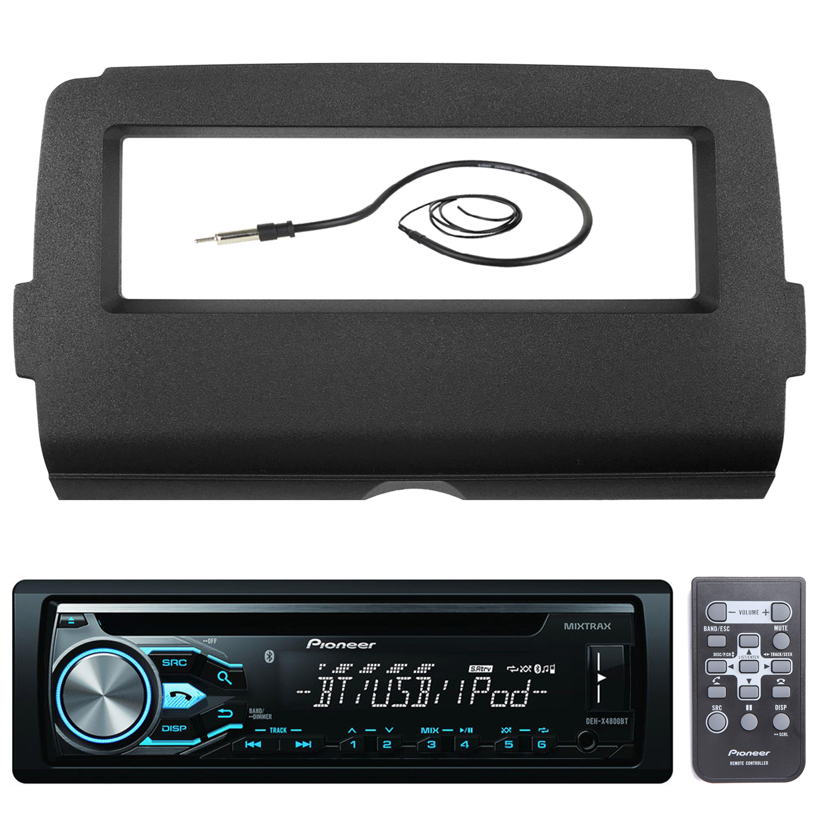 "Pioneer DEH-X4800BT Marine Bluetooth Radio USB AUX CD MP3 WMA Audio Receiver Bundle Combo With Scosche Installation Dash Kit for 2014 and Up Harley Motorcycle, Enrock 22"" Radio Antenna"