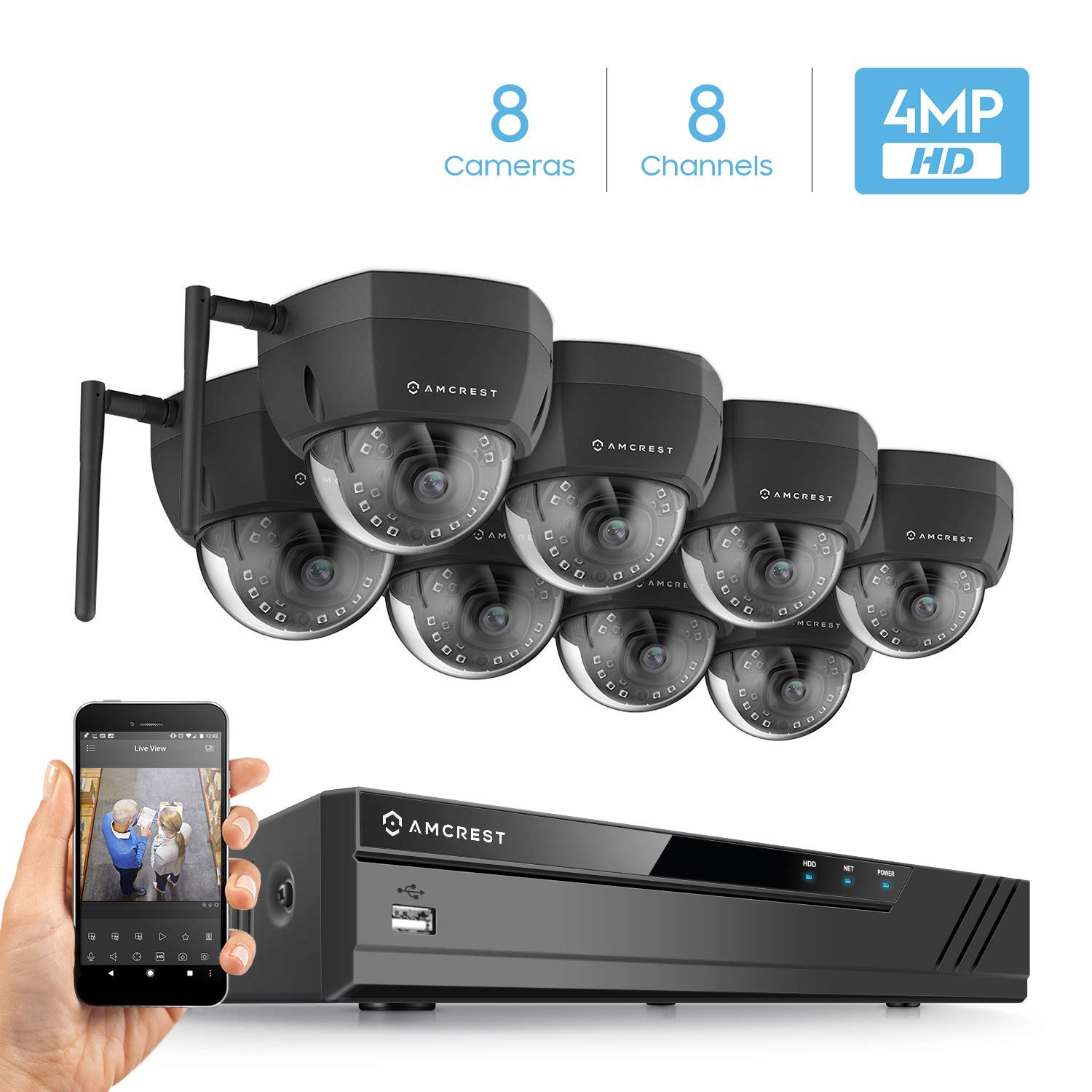 Amcrest 8CH Plug & Play H.265 4K NVR 4MP 1520P Security Camera System, (8) x 4-Megapixel 3.6mm Wide Angle Lens Weatherproof Metal Dome Wi-Fi IP Cameras, 98 Feet Night Vision (Black)