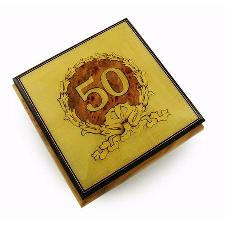 Extraordinary 50th Anniversary / Birthday with Gold Wreath Music Box - Anniversary