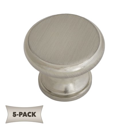 5-Pack Flat Topped Mushroom Stemmed Kitchen Cabinet Hardware Knob 1-1/4 Inch, Satin Nickel Modern and affordable high quality hardwareGoes great with stainless steel appliances in the kitchen and nickel fixtures in the bathroom1.17  D X 0.95  T  1.9 oz 1  mounting screw includedLifetime Warranty