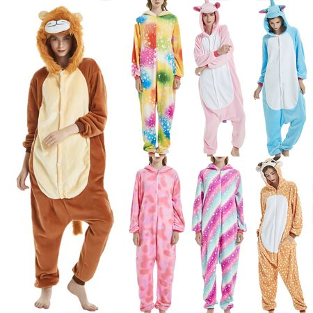 Womens Fleece Printed Onesie, Hooded Footed Jumpsuit Pajamas Sleepwear Fleece Animal Cute for Women ()