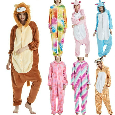 Womens Fleece Printed Onesie, Hooded Footed Jumpsuit Pajamas Sleepwear Fleece Animal Cute for