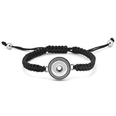 Ginger Snaps Petite One-Snap Black Woven Bracelet GP90-05 - Snap Bracelets