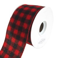 Buffalo Plaid Wired Christmas Holiday Ribbon, Red/Black, 2-1/2-Inch, 10 Yards