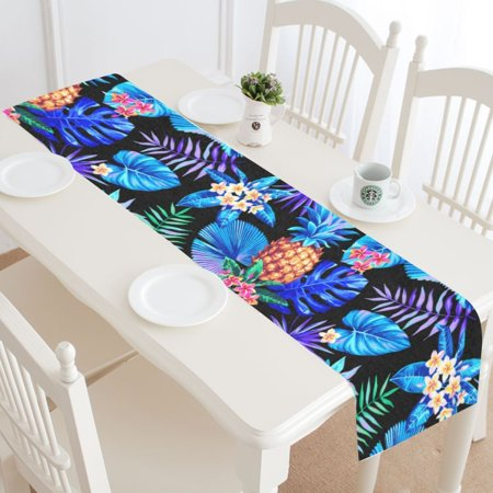 MYPOP Tropical Pineapple Table Runner Home Decor 16x72 Inch, Palm Tree Leaf Table Cloth Runner for Wedding Party Banquet Decoration - Palm Tree Table Decorations