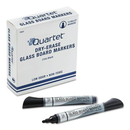 Quartet Premium Glass Board Dry Erase Marker, Bullet Tip, Black,