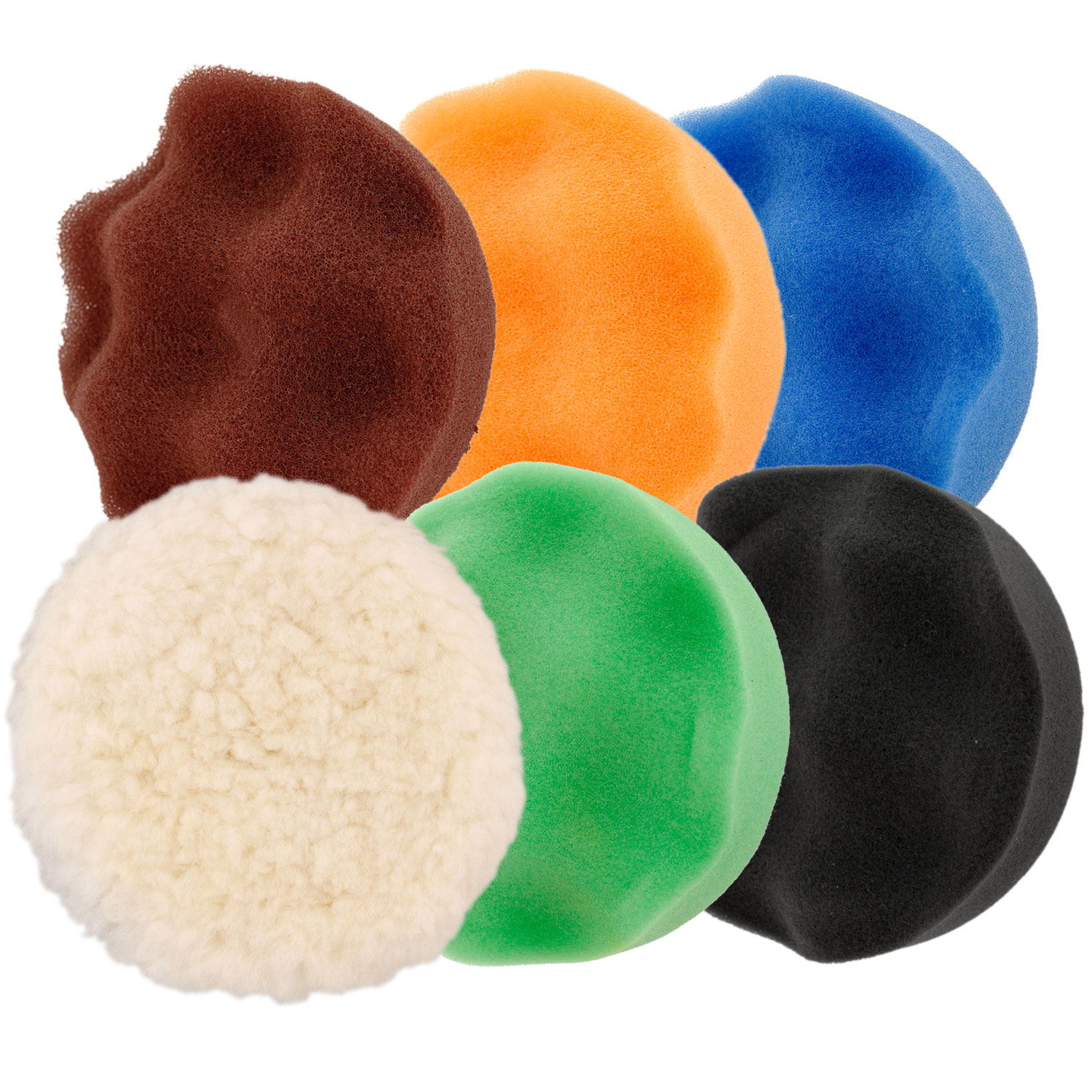 "4"" DA Pad Kit 5 Waffle Foam & 1 Wool Grip Polishing Pads, Buff Polish Detail Car"