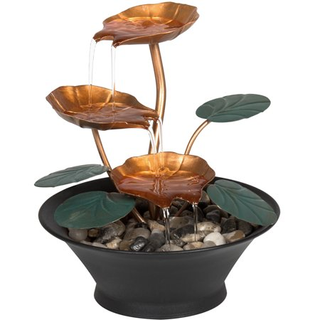 Tabletop Indoor Water Fountain - Best Choice Products Home Office Decor Indoor Miniature Water Lily Tabletop Fountain
