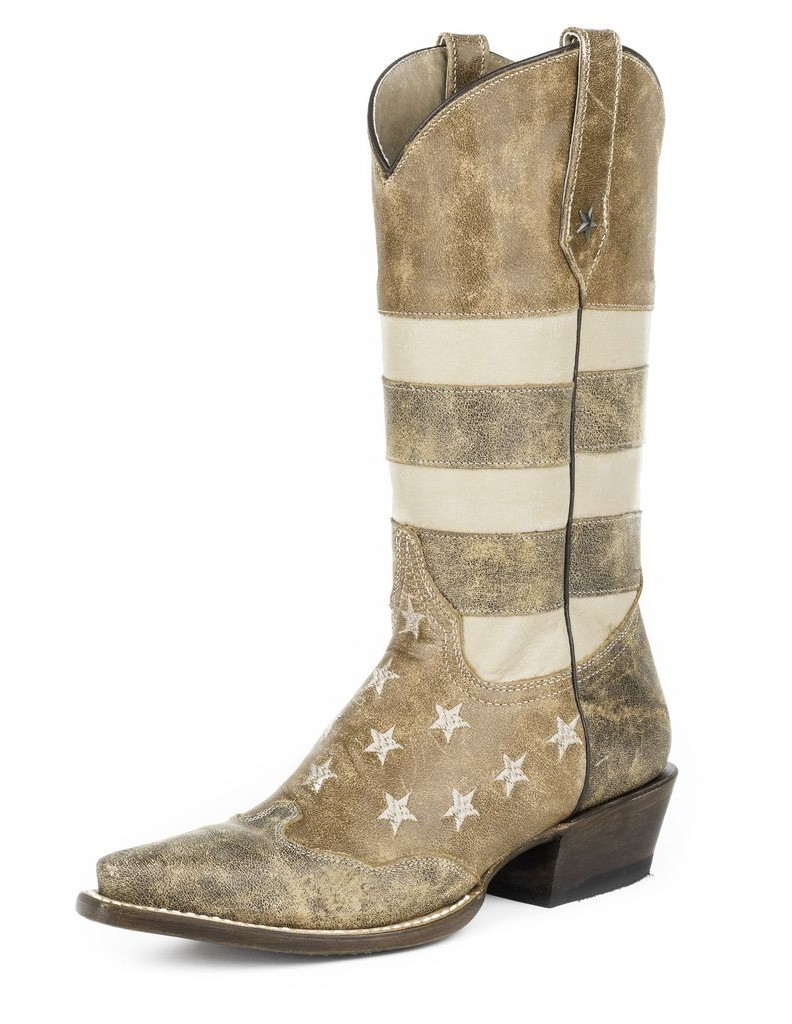 Roper Western Boots Womens American Flag B Brown 09-021-7001-0112 BR