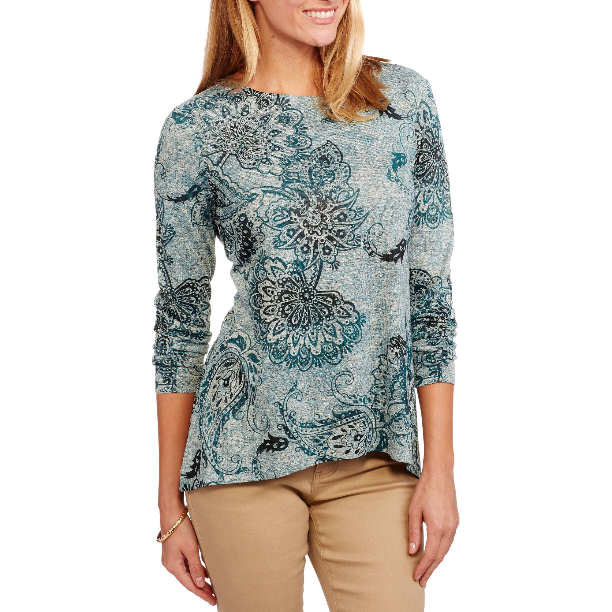 b6cc005bbee3 White Stag - Women's Relaxed Fit Long Sleeve Scoopneck Printed T-Shirt -  Walmart.com