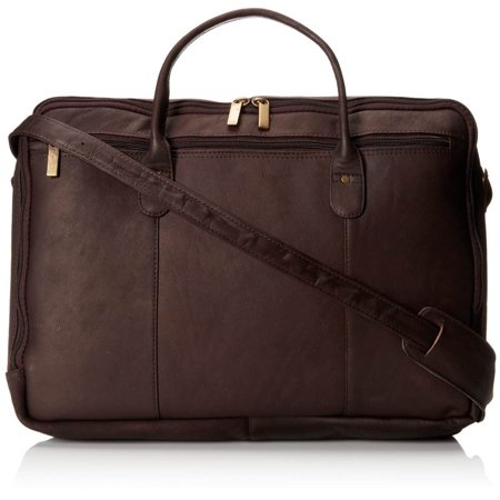Double Top Zip Leather Briefcase w Adjustable Strap (Cafe)