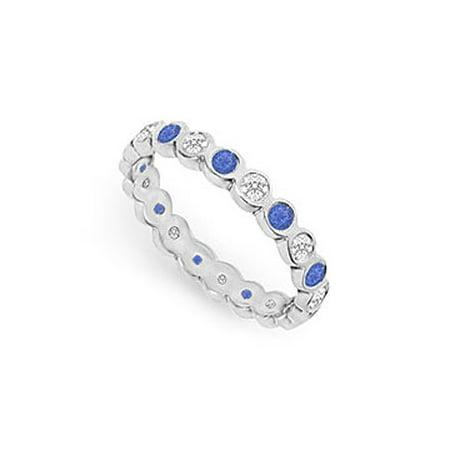 Diamond and Blue Sapphire Eternity Band 14K White Gold 1.00 CT TGW - image 1 de 2