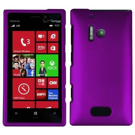 Lumia 928 Case, PURPLE RUBBERIZED HARD SHELL CASE COVER FOR NOKIA LUMIA 928 (Nokia Lumia 928 Trident Case)