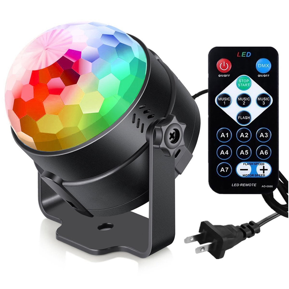 Disco Lights Sound Activated With Remote,Party Lights Disco Ball  Light,Stage Lights
