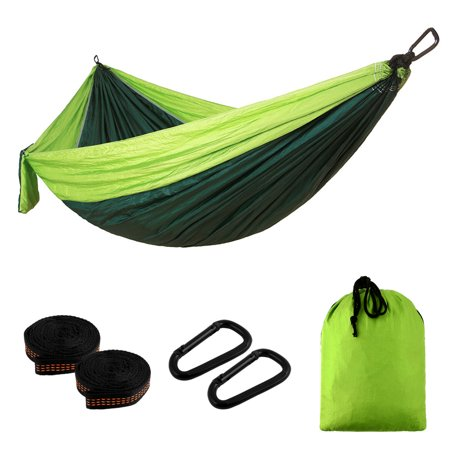 Camping Double Hammock Easy Hanging Green Lime with Tree Strap 660lbs Capacity - image 5 de 6
